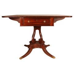Fine Regency Drum Table or Card Table in Mahogany