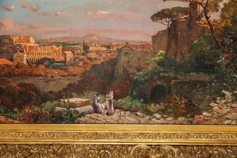 A fine Roman landscape oil on canvas depicting the Colosseum and the Via Sacra. The scene is full of characters and architectural elements and captures the magic light of Rome. Signed
