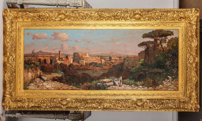 Italian Fine Roman Landscape Depicting the Colosseum and the Via Sacra For Sale