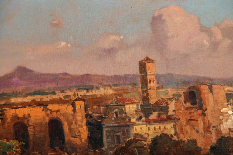 Fine Roman Landscape Depicting the Colosseum and the Via Sacra In Excellent Condition For Sale In Rome, IT