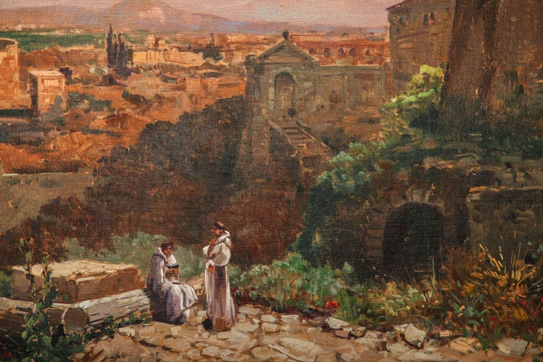 20th Century Fine Roman Landscape Depicting the Colosseum and the Via Sacra For Sale