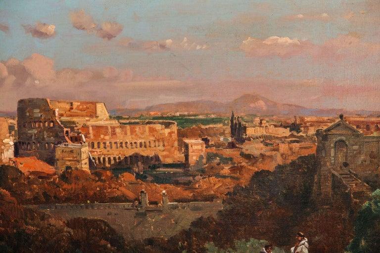 Canvas Fine Roman Landscape Depicting the Colosseum and the Via Sacra For Sale