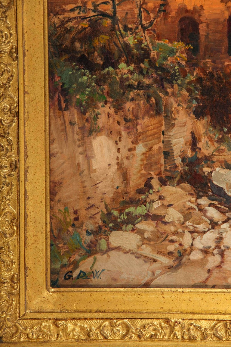 Fine Roman Landscape Depicting the Colosseum and the Via Sacra For Sale 1