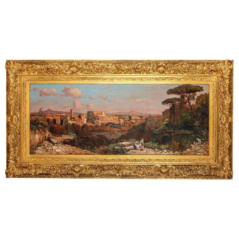 Fine Roman Landscape Depicting the Colosseum and the Via Sacra For Sale