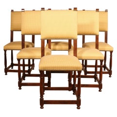Fine Set of 6 Chairs and Two Armchairs in Mahogany, 19th Century