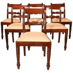 Fine Set of 6 Chairs in Solid Mahogany, 19th Century