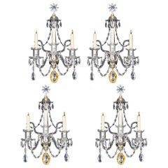 Fine Set of Four George III Ormolu Mounted and Cut Glass Wall Lights