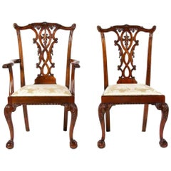 Fine Set of George III Style Chairs in Carved Mahogany