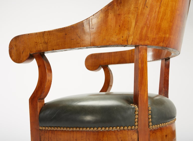 Fine Set of Six Austro-Hungarian Biedermeier Fruitwood Chairs with Leather Seats For Sale 5