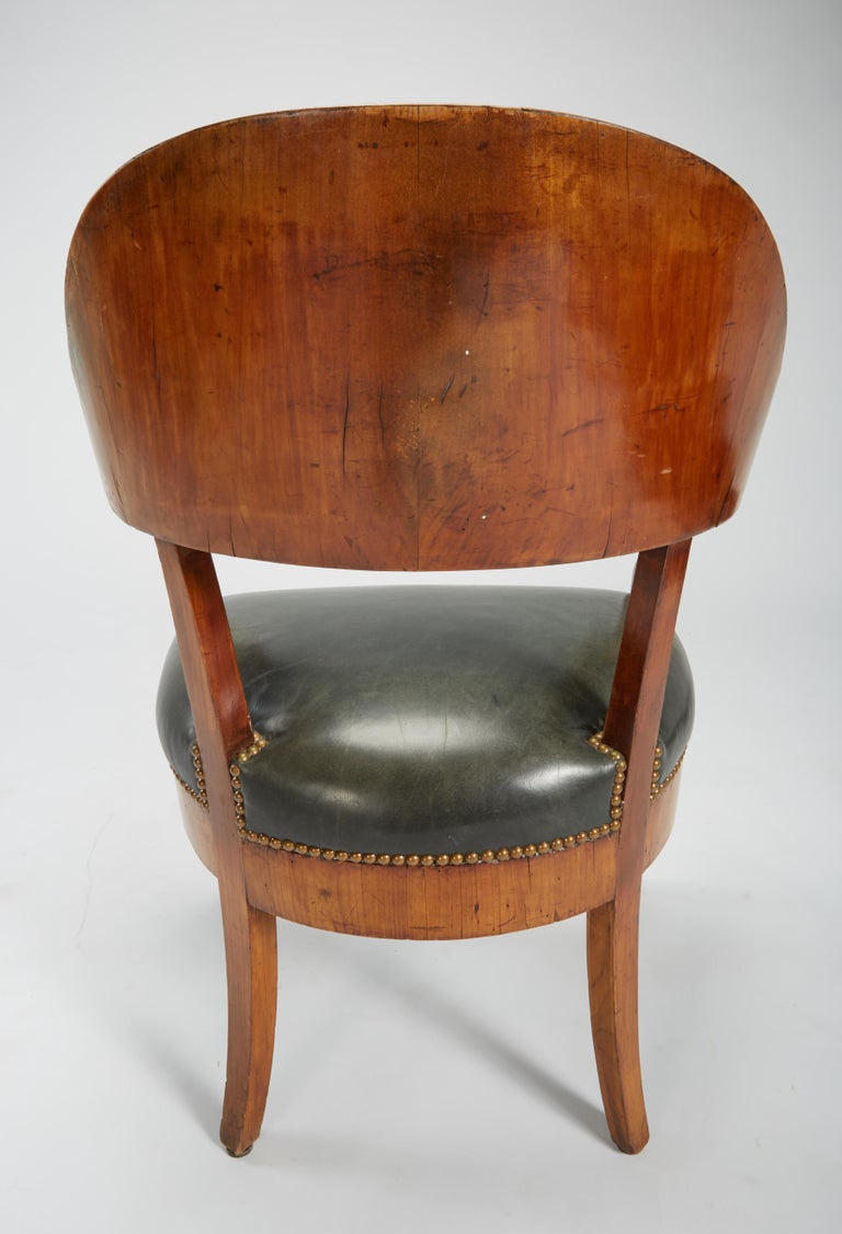Fine Set of Six Austro-Hungarian Biedermeier Fruitwood Chairs with Leather Seats For Sale 6
