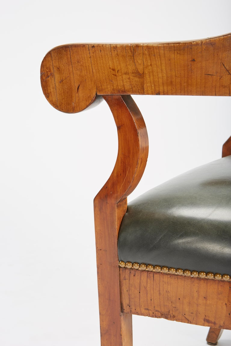 Fine Set of Six Austro-Hungarian Biedermeier Fruitwood Chairs with Leather Seats For Sale 7