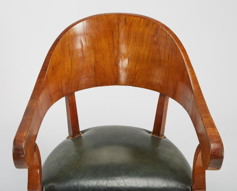 Fine Set of Six Austro-Hungarian Biedermeier Fruitwood Chairs with Leather Seats For Sale 8