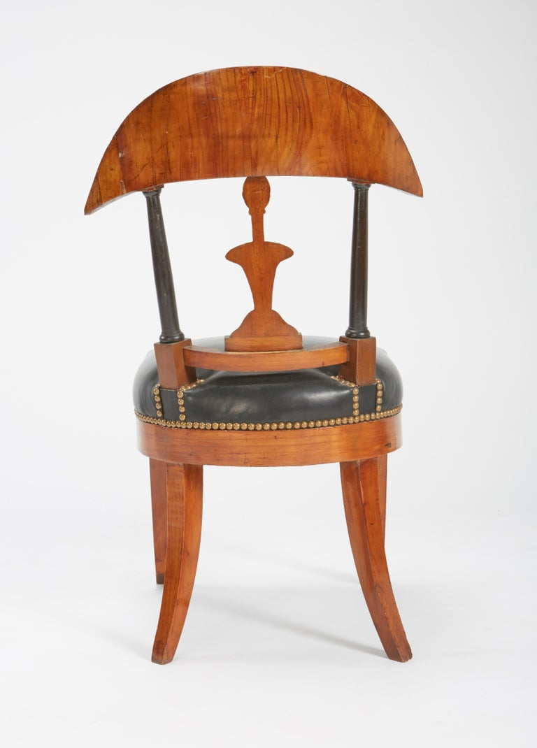 Fine Set of Six Austro-Hungarian Biedermeier Fruitwood Chairs with Leather Seats For Sale 12