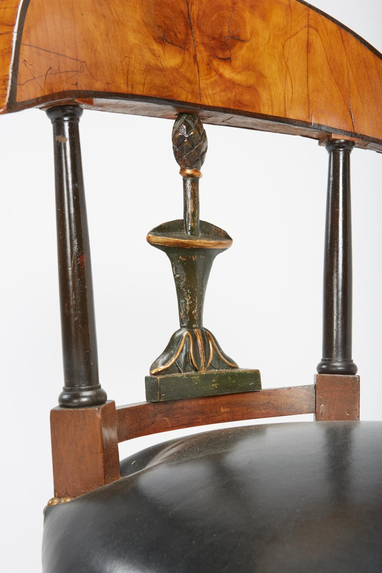 Fine Set of Six Austro-Hungarian Biedermeier Fruitwood Chairs with Leather Seats For Sale 14