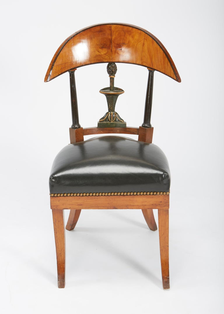 Austrian Fine Set of Six Austro-Hungarian Biedermeier Fruitwood Chairs with Leather Seats For Sale
