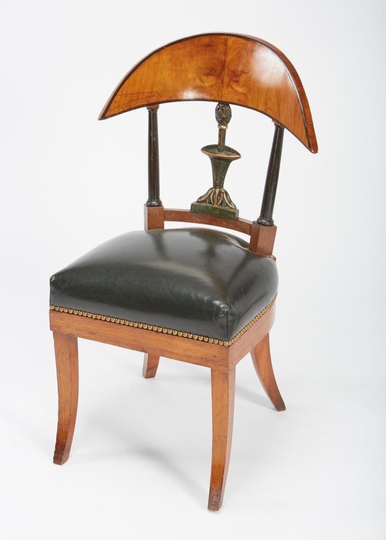 Fine Set of Six Austro-Hungarian Biedermeier Fruitwood Chairs with Leather Seats In Good Condition For Sale In St. Louis, MO