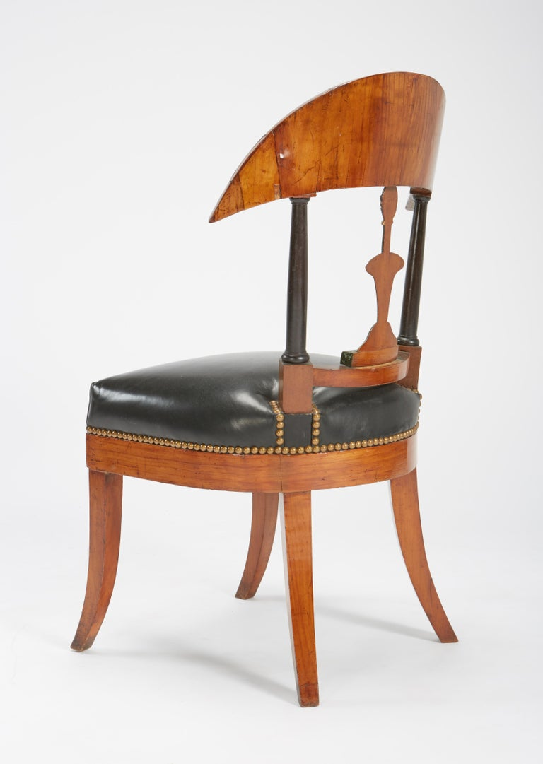 Mid-19th Century Fine Set of Six Austro-Hungarian Biedermeier Fruitwood Chairs with Leather Seats For Sale