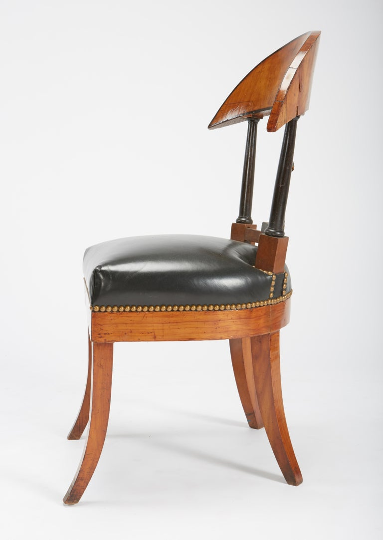 Fine Set of Six Austro-Hungarian Biedermeier Fruitwood Chairs with Leather Seats For Sale 1