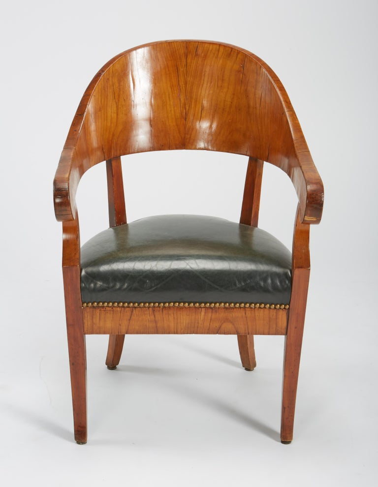 Fine Set of Six Austro-Hungarian Biedermeier Fruitwood Chairs with Leather Seats For Sale 3