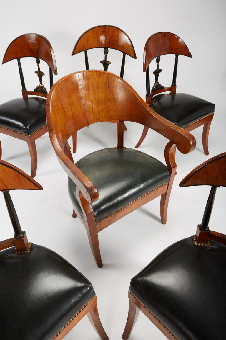 Fine Set of Six Austro-Hungarian Biedermeier Fruitwood Chairs with Leather Seats For Sale 4