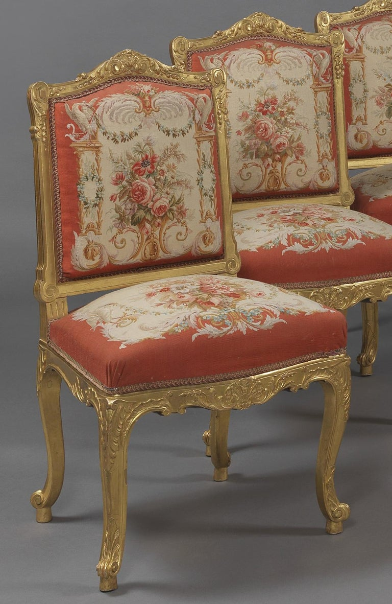 French Fine Set of Six Louis XV Style Giltwood Side-Chairs, circa 1890 For Sale
