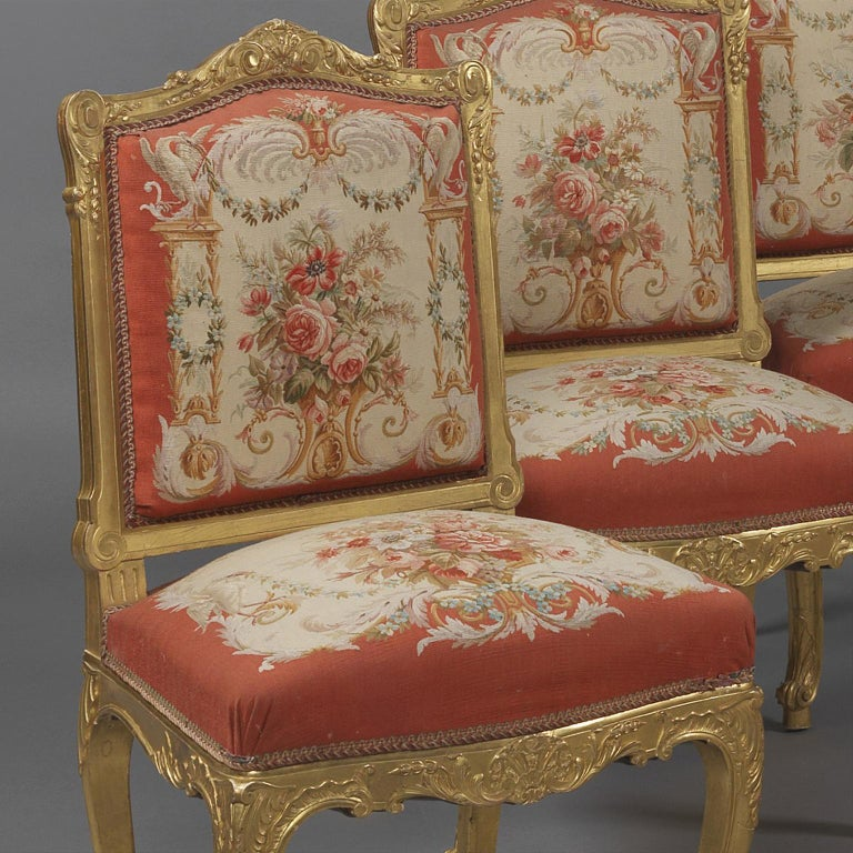 Fine Set of Six Louis XV Style Giltwood Side-Chairs, circa 1890 In Good Condition For Sale In London, GB