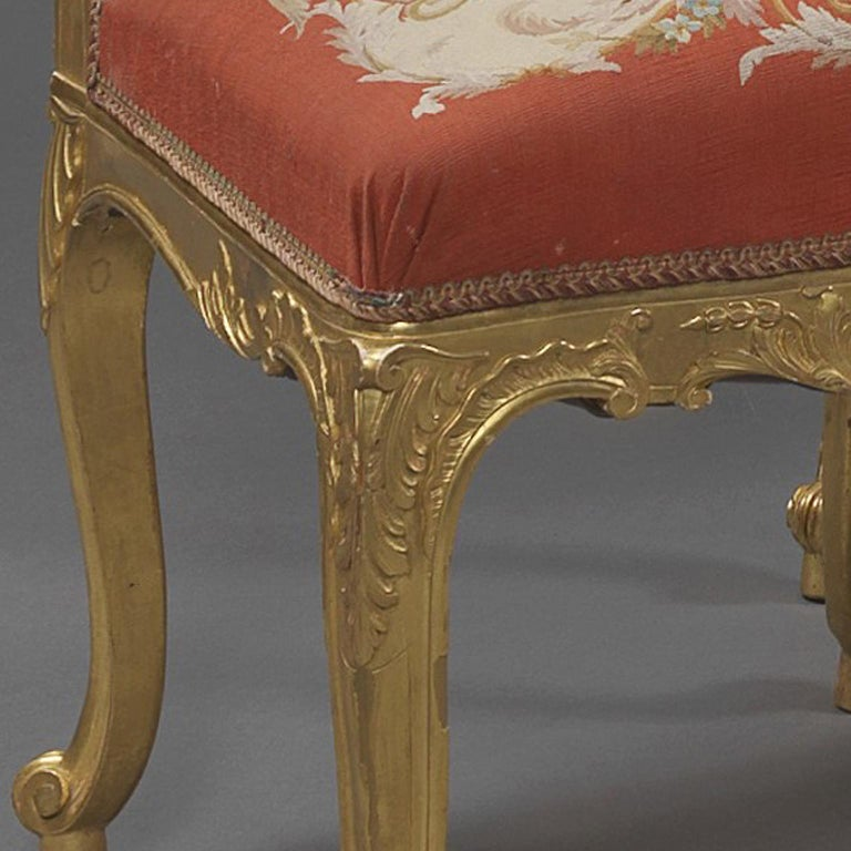 19th Century Fine Set of Six Louis XV Style Giltwood Side-Chairs, circa 1890 For Sale