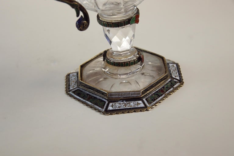 Fine Silver, Enamel, and Engraved Rock Crystal Jug, circa 1880 For Sale 9