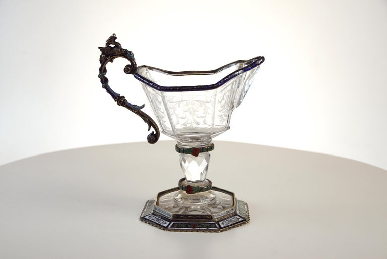 Fine Silver, Enamel, and Engraved Rock Crystal Jug, circa 1880 In Good Condition For Sale In New York, NY