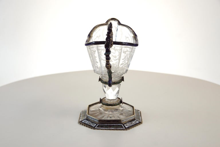 19th Century Fine Silver, Enamel, and Engraved Rock Crystal Jug, circa 1880 For Sale