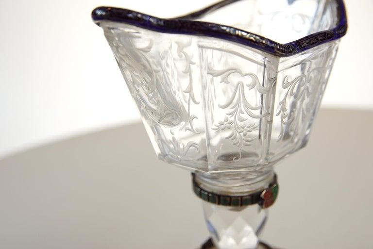 Fine Silver, Enamel, and Engraved Rock Crystal Jug, circa 1880 For Sale 4