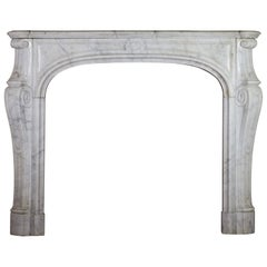 Fine Small French Carrara Marble Classic Antique Fireplace Surround