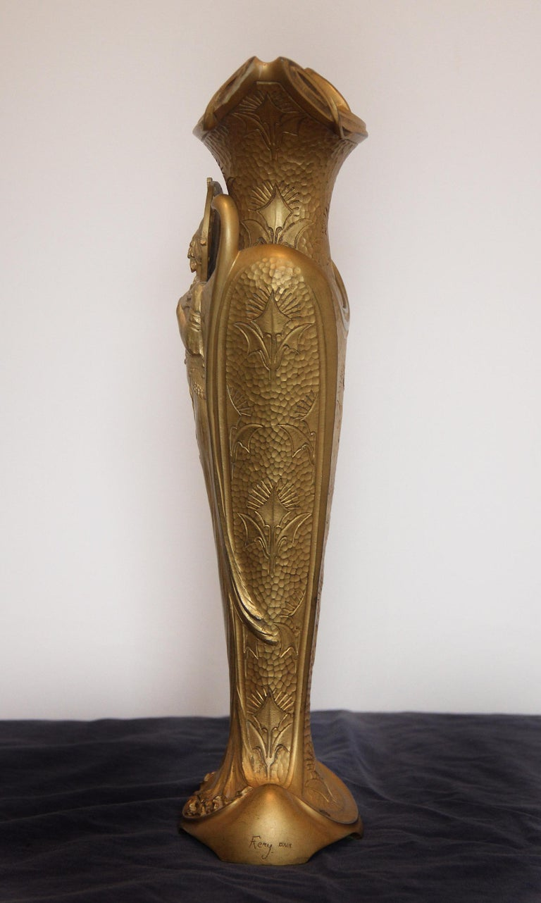 French Fine Turn of the Century Art Nouveau Gilt Bronze Vase or Centerpiece For Sale