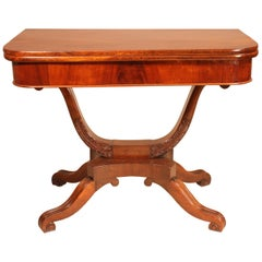 Fine Victorian Mahogany Basket Base Card Table or Console