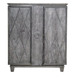 A Fine Vintage French Gray Cerused Oak Armoire from a Maine Estate