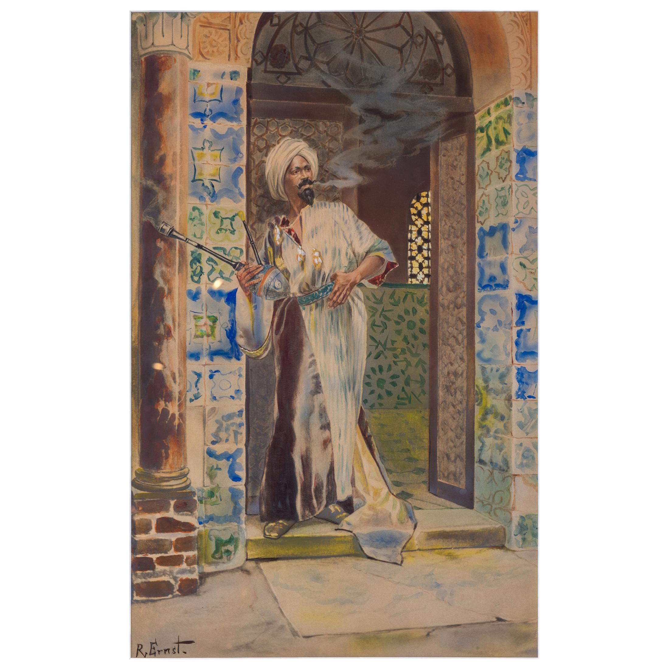 Fine Watercolor Painting of an Arab Man Smoking in Doorway by Rudolf Ernst