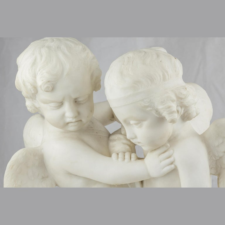 White Marble Sculpture Statue of Two Cherubs  In Good Condition For Sale In New York, NY
