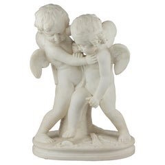 White Marble Sculpture Statue of Two Cherubs