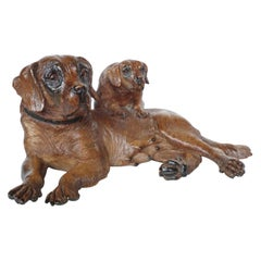 Finely Carved Black Forest Group of Mother and Pup Swiss, Circa 1900