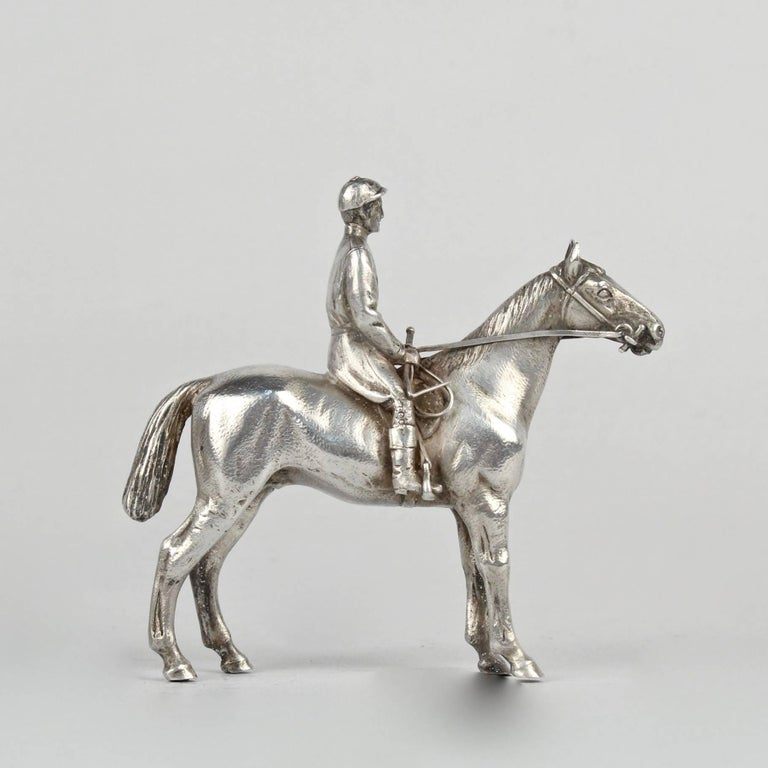 Finely Cast Silver Equestrian Horse Racing Sculpture For Sale 1
