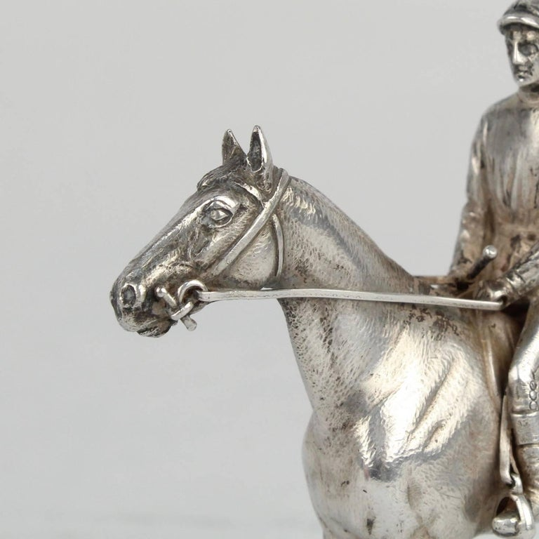 Finely Cast Silver Equestrian Horse Racing Sculpture For Sale 4