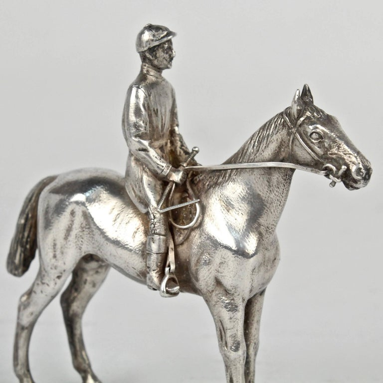 Finely Cast Silver Equestrian Horse Racing Sculpture For Sale 5