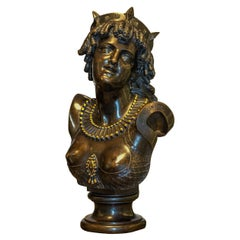 """Finely Casted Patinated Bronze Bust Figure Entitled """"Ariadne"""""""