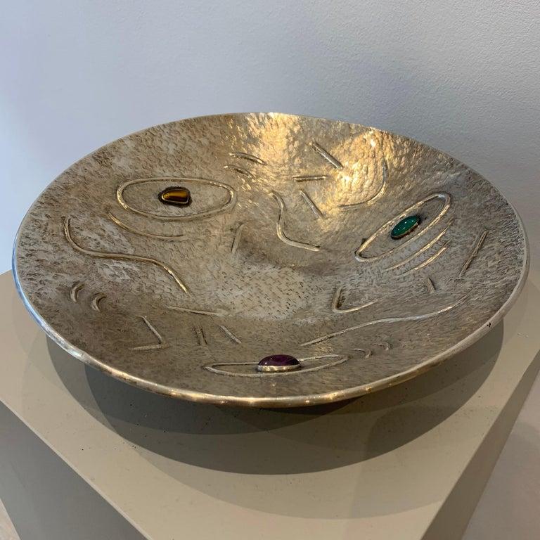 Italian Finzi Silver Bowl with Stones Inserted, circa 1950s