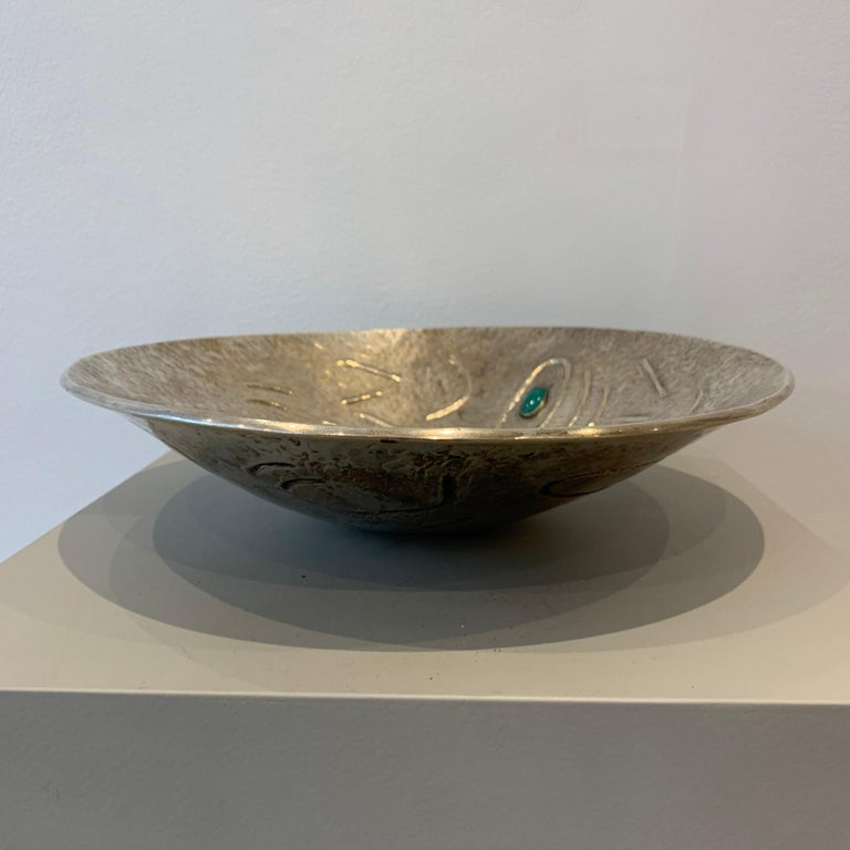 Finzi Silver Bowl with Stones Inserted, circa 1950s In Good Condition In Brussels, BE