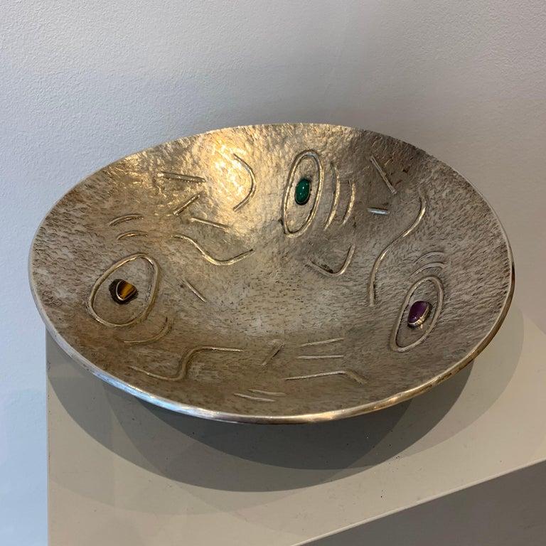 Mid-20th Century Finzi Silver Bowl with Stones Inserted, circa 1950s