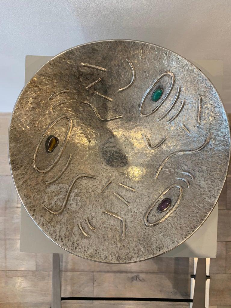 Finzi Silver Bowl with Stones Inserted, circa 1950s 1