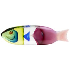 Fish in a Fish, Blown Glass Sculpture, Antonio da Ros, Cenedese Murano 'Italy'