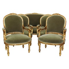 Five Piece French Louis XVI Style Giltwood Carved Salon 'Parlor' Suite