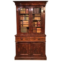 Flamed Mahogany Early Victorian Period Secretaire Bookcase